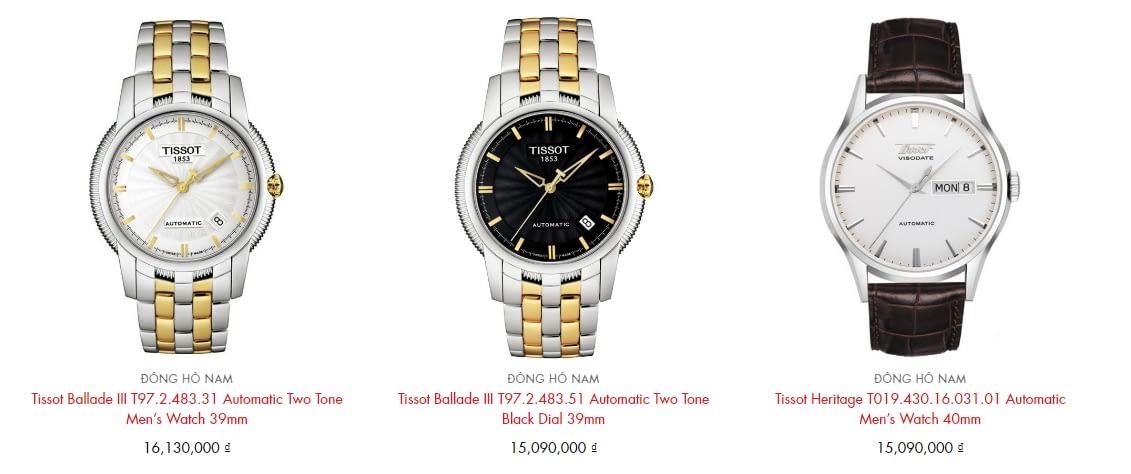 Giá tiền đồng hồ Tissot chính hãng